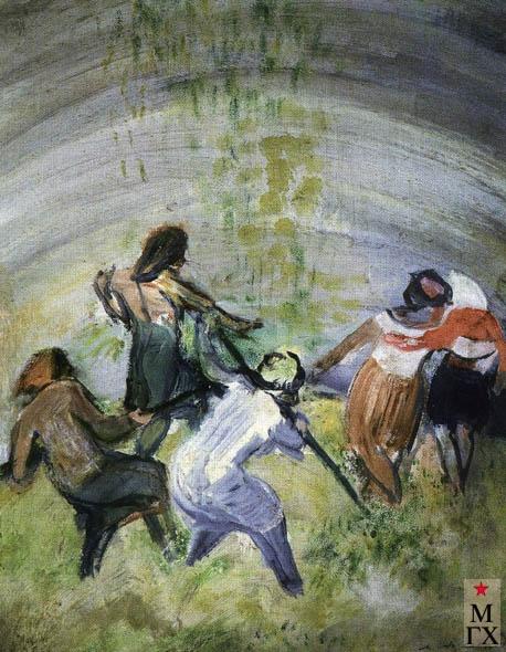 Аксельрод М. М.. Утаптывание силоса. Из серии «В степи» 1931. Б. Акв.48х38