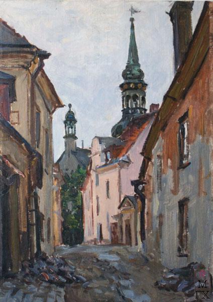 Ф.В. Антонов. Картина : Таллин. Улица Тоомрюютли. 1954. Картон, темпера. 50х35
