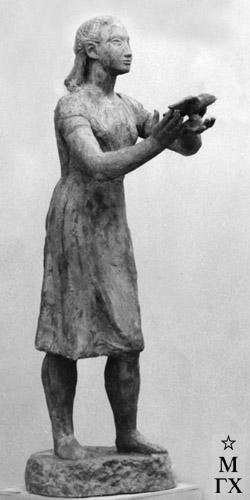 А. А. Арендт. Девушка, выпускающая птицу. 1936. Бронза. (ГРМ).