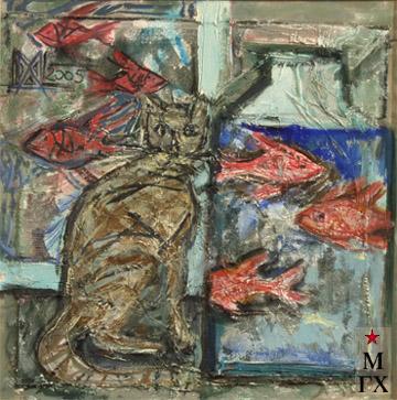 Мария Арендт. Задумчивый кот. 2005.