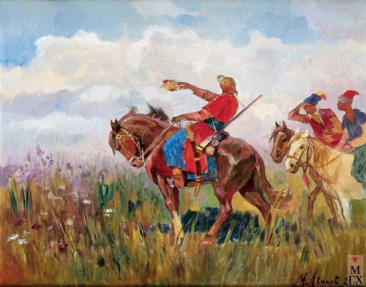 Авилов М. И. Тарас Бульба с сыновьями. 1922. К.М. 31х40.