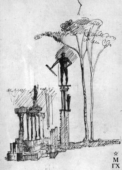 М.Б. Айзенштадт. Проект композиции. 1929. Бум.Тушь. 24.4х16.4.