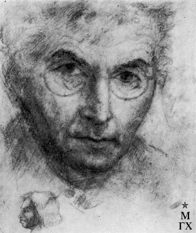 М.Б. Айзенштадт. Автопортрет. 1945. Бум.Кар. 20.4х16.8.