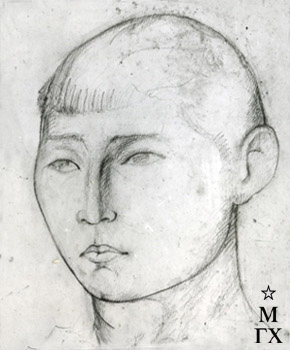М.Б. Айзенштадт. Портрет мальчика. 1927. Бум.Кар. 22.4х18.4