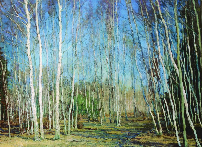 В. Н. Бакшеев. Голубая весна. 1930. Дерево.М. 44x57 (ГТГ).