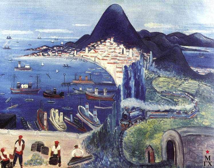 Бакулина Л. Г. Батумская бухта. 1931. Б.Акв.Гуашь. 105х127.  Нукус.
