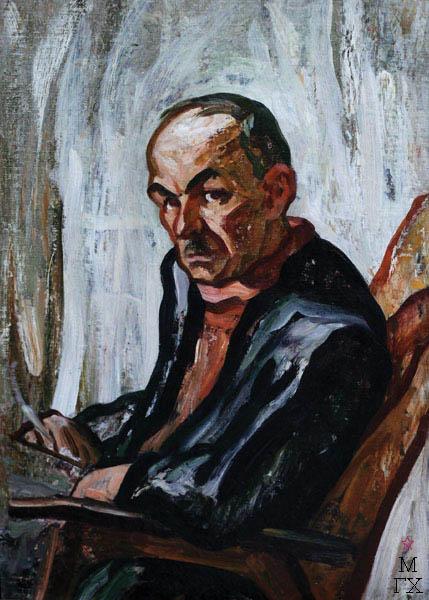 А.И. Базлаков. Портрет Окуджавы. 1989. К.М. 70х50.