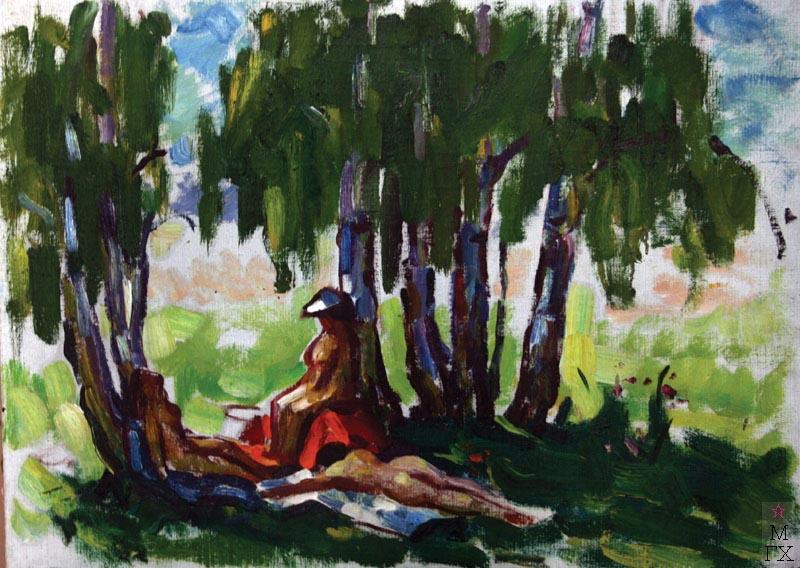 А.И. Базлаков. Отдых на траве. 50х70