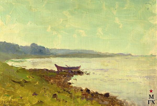 Н.Я. Белянин. Утро на реке (этюд). 1930. К.М. 14х20.5.