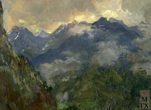 Н.Я. Белянин. В горах. 1929. К.М. 13х17.5.