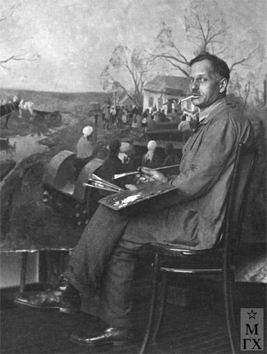 Н.Я. Белянин в мастерской, 1932 г.