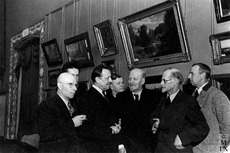 П.И. Котов, Ф. Невежин, А.М. Герасимов, Ф.А. Модоров, В.К. Бялыницкий-Бируля, Н.Я. Белянин, Е.А. Львов. 1948 г.