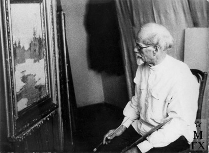 Николай Яковлевич Белянин в мастерской, 1960 г.