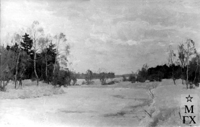 Н.Я. Белянин. Река зимой. 1946. Х.М.72х109. ?