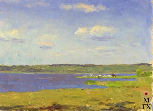 Н.Я. Белянин. Летний день (водохранилище). 1938. Ф.М. 15.5х22