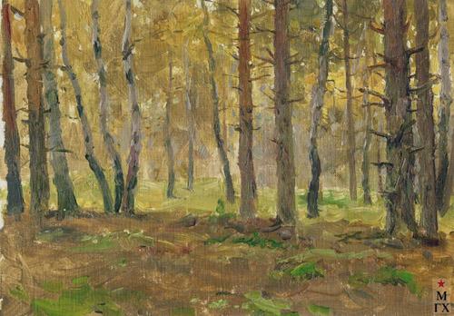 Н.Я. Белянин. Осень в лесу. 1941. Х.К.М. 15х22.