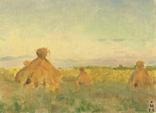 Н.Я. Белянин. Вечер в поле. 1947. К.М. 15х20.5.