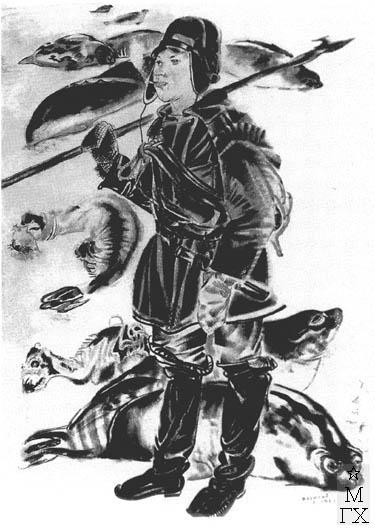 Беляев В. П. Комсомолец-гарпунер. 1930. Б.Тушь.Кисть.Перо.56х38.