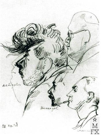 Беляев В. П. Давидович в Третьяковской галерее. 1936. Б.Кар.22х15.