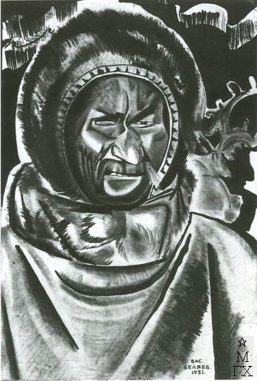 Беляев В. П. Зверобой Ефим Хазангай, 99 лет. 1931.  Б.Тушь.37.2х24.5