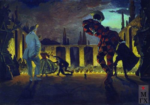 А. Н. Бенуа. Итальянская комедия. 1906. Х.бум. масло. 68,5x101. Гос. Русский музей, Санкт-Петербург