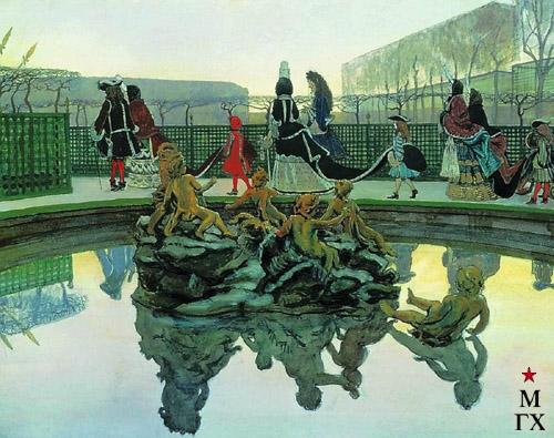 А. Н. Бенуа. Прогулка короля. 1906. К., гуашь, акв., золотая краска, серебряная краска, перо, карандаш. 48x62. (ГТГ)