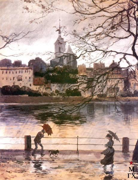 А. Н. Бенуа. Набережная Рей в Базеле в дождь. 1902.