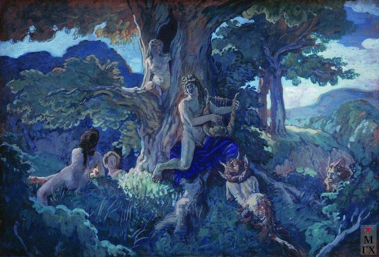 А. Н. Бенуа. Аполлон и Дафна. 1908. Картон, гуашь. 70,5x103. (ГРМ, Санкт-Петербург)