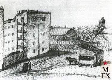 Безин И. К. Улица с фургонами. 1933. Б.Кар. 26х34