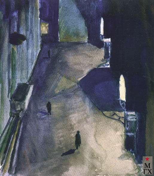 Бурыкин А. К. Двор на Мясницкой 21, ночью. 1929. Б.Акв.. 27х22.