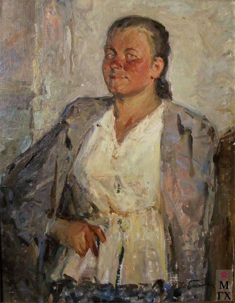 Н.Н. Чебаков. Портрет доярки. 1948. Х.М. 60х45