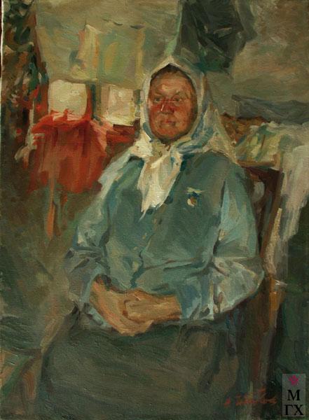 Н.Н. Чебаков. Портрет доярки Дуси Авдеевой. 1957. Х.К.М. 65х49