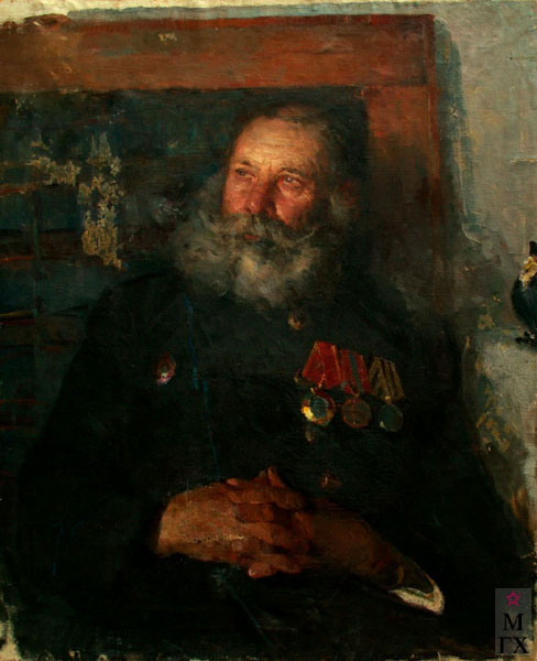 Н.Н. Чебаков. Портрет почётного шахтёра Даниила Антоновича Радневича. 1950. Х.М.