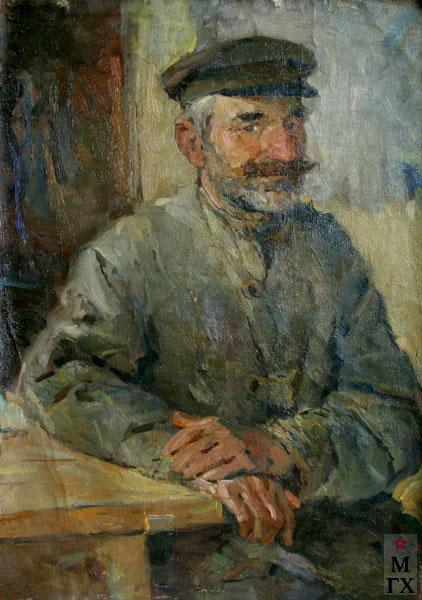 Н.Н. Чебаков. Портрет столяра. 1948. Х.М. 59х39