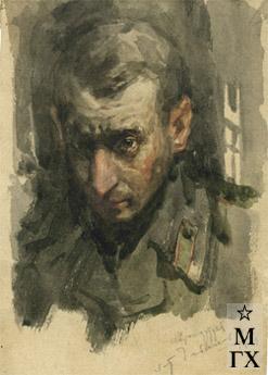 Н.Н. Чебаков. Автопортрет. 1943. Акварель