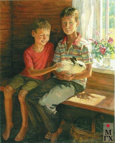 Чулович М.В. Сыновья. 2004. Х.М. 81х102