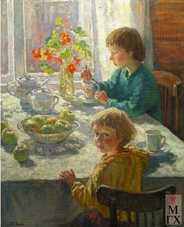 Чулович М.В. Дети за утренним чаем. 1998. Х.М. 81х65.