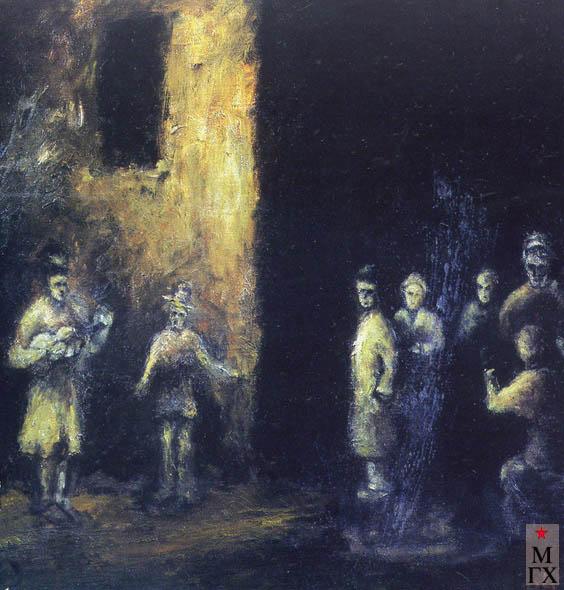 Фальк Р. Р. Уличные музыканты. Середина 1930-х. Х.М. 64х98. ГТГ