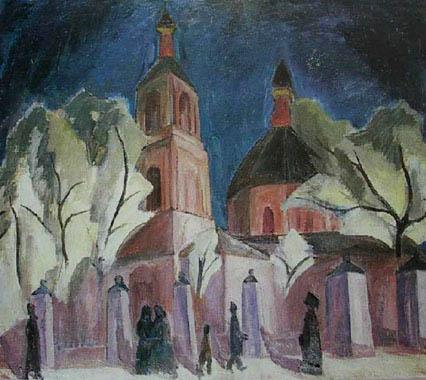 Фальк Р. Р. Церковь в Обыденском (в лиловом) 1912. Х,М. 88,5х104. ГТГ.