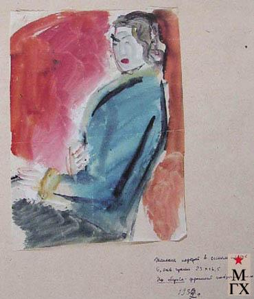 Фальк Р. Р. Р.Р. Фальк. Девушка в синем платье. 1932. Эскиз к картине «Девушка с попугаем». Б., аквар.23х16,6. Донецкий обл. худ. музей.