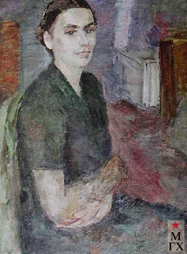 Фальк Р. Р. Портрет жены в интерьере мастерской (не окончен). 1939—1940. Х.М. 72х55.