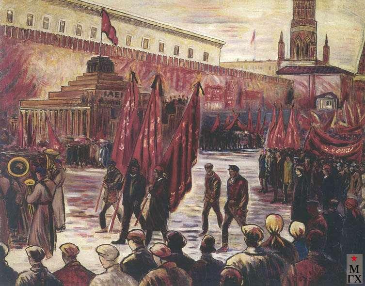 Голополосов Б. А. У мавзолея Ленина. 1927. Х.М. 145х177. Архангельск.