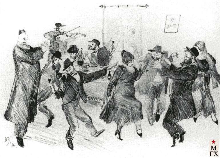 Горшман М. Х.. Свадебный танец. 1926. Автолитография. 28х37.5 Астрахань.
