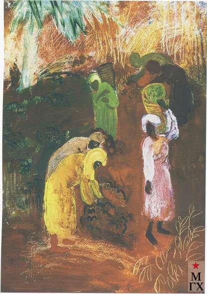 Гранавцева М. С. Сбор чая. Из серии «Чаква». 1930. Х.М.. 72х51 ГТГ.