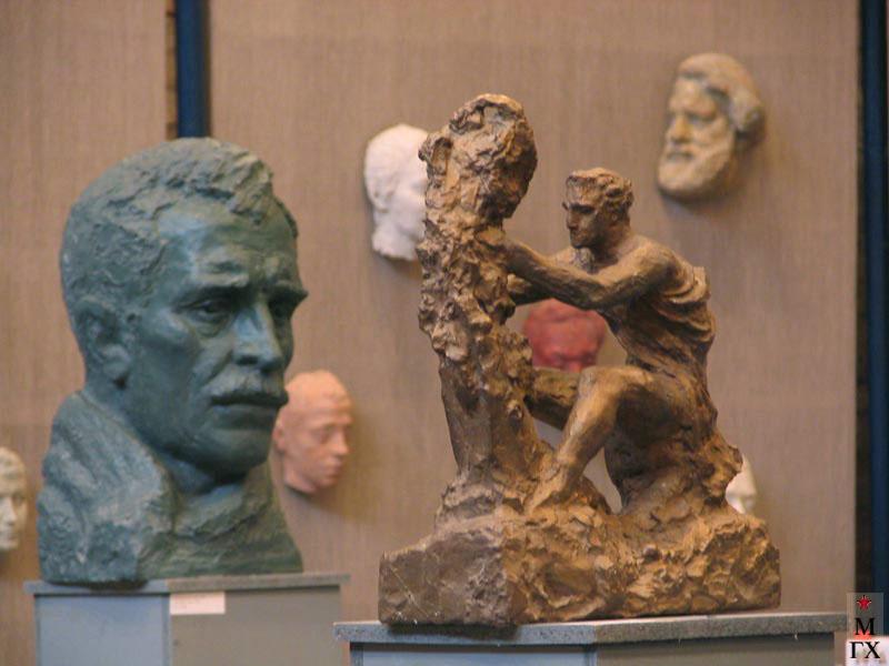А. И. Григорьев. А. Грин. 1960. Гипс тонир., <br>Древнегреческий скульптор Скопас. 1984. Бронза.