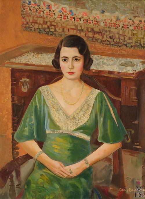 Б.Д. Григорьев. Женщина в зеленом платье. 1933. Холст, масло. 102x77  см.