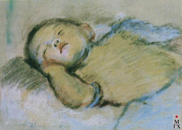 Губин В. И. Спящий мальчик. 1928. Б.Пастель. 32х44.5