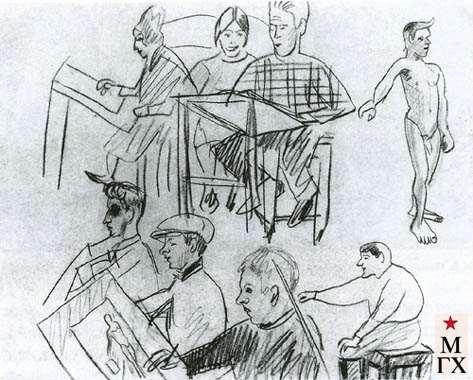 Гуревич М. Л. В мастерской Штеренберга. 1929. Б.Кар. 25х40.