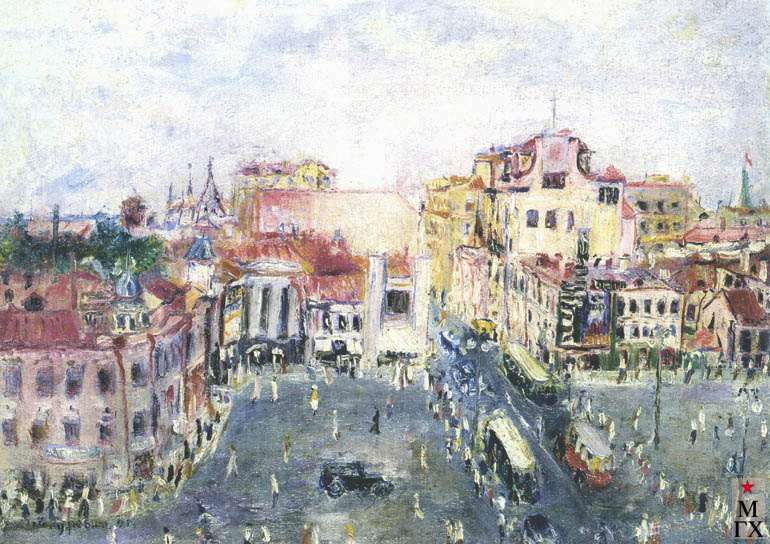 Гуревич М. Л. Пушкинская площадь. 1937. Х.М. 28х39. ГТГ.