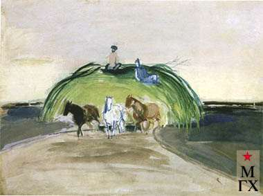 Гусятинский А. М. Из серии «В совхозе Адыгеи». 1928. Б.Гуашь. 37х49.